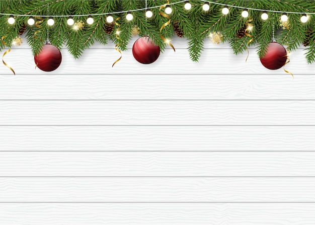 Realistic christmas background for greeting card Premium Vector