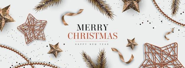 エレガントなスタイルの現実的なクリスマス背景 無料ベクター