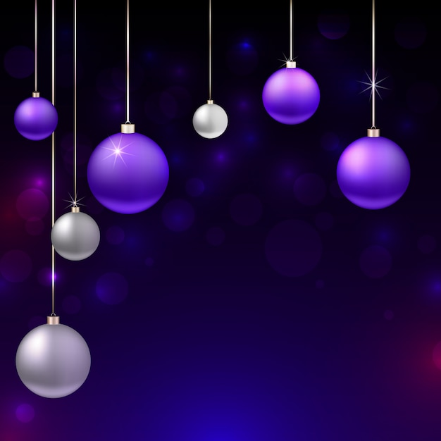 Realistic christmas background with ornaments Premium Vector