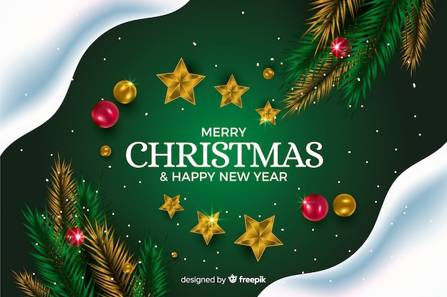 Realistic christmas background Free Vector