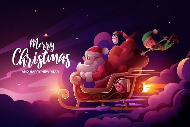 現実的なクリスマスの背景 無料ベクター