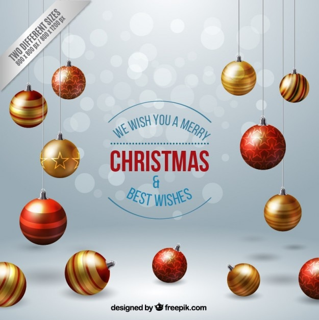 Realistic christmas balls background Premium Vector
