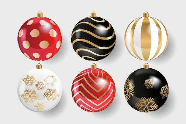 Realistic christmas balls collection Free Vector