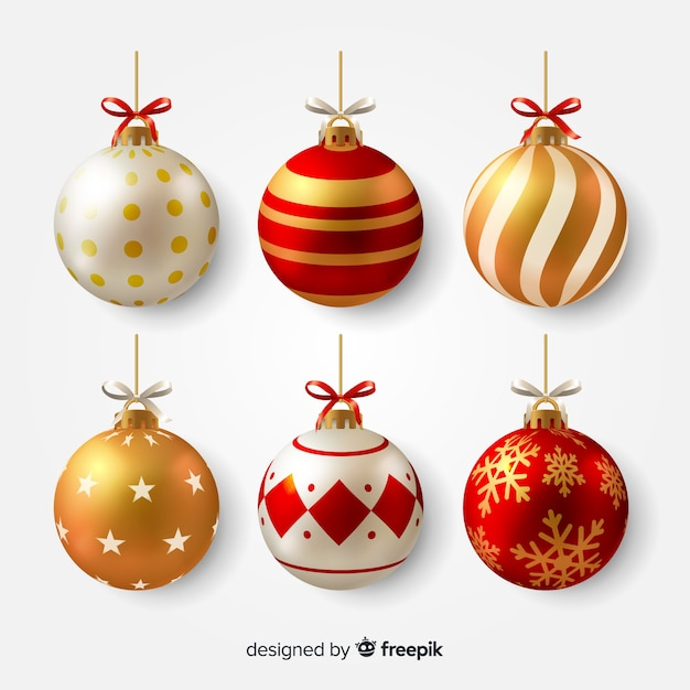 Realistic christmas balls illustration Free Vector