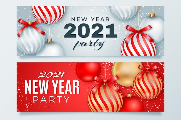 Realistic christmas balls new year 2021 banner Premium Vector