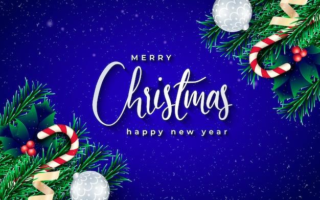 枝と青い背景を持つ現実的なクリスマスバナー 無料ベクター