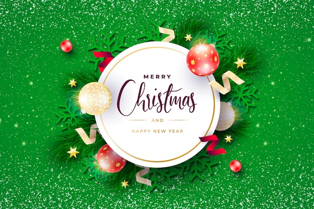Realistic christmas banner with rounded frame Free Vector