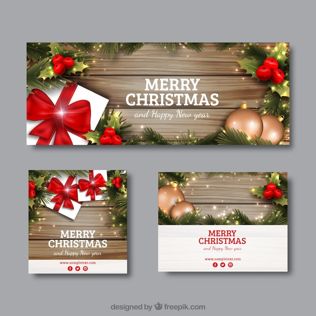 Nice Christmas Banners Part - 14: Realistic Christmas Banners In Different Sizes Free Vector