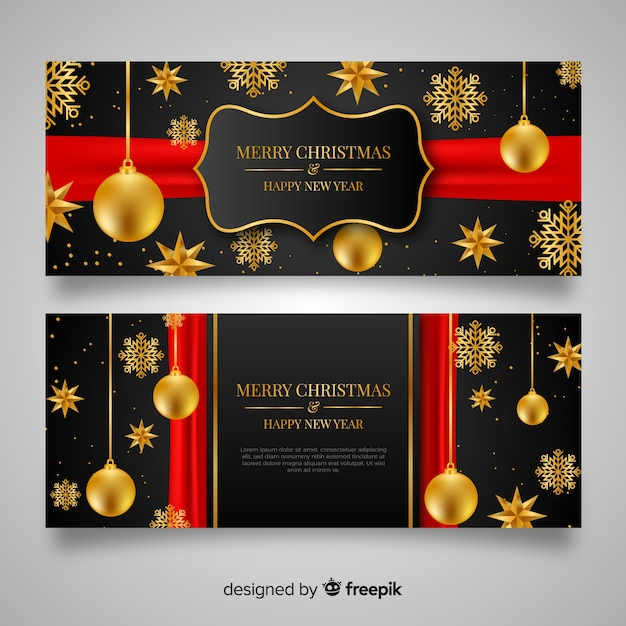 Realistic christmas banners Free Vector
