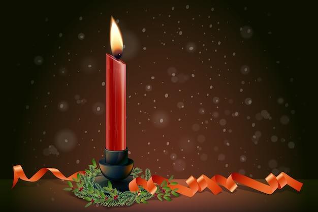 현실적인 크리스마스 촛불 배경 무료 벡터