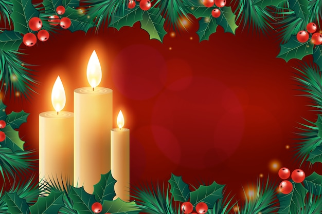 Realistic christmas candle background Free Vector