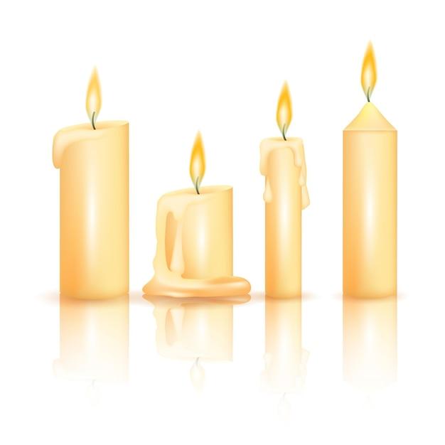 Collezione realistica di candele natalizie Vettore gratuito