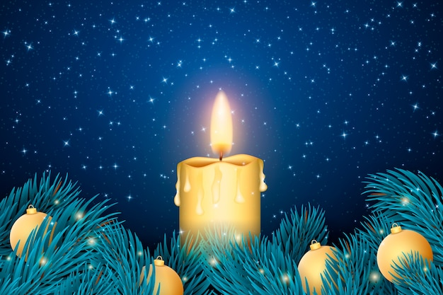 Realistic Christmas Candle Wallpaper Vector Free Download