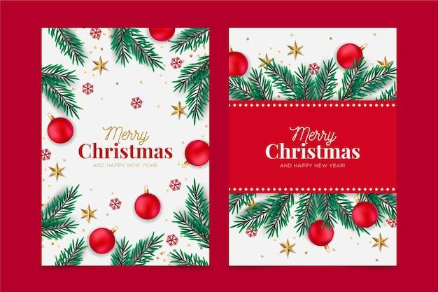 Реалистичная концепция рождественских открыток Бесплатные векторы