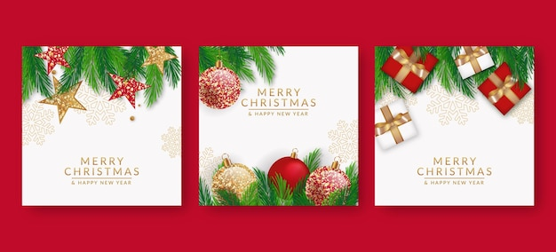 Realistic christmas cards Free Vector