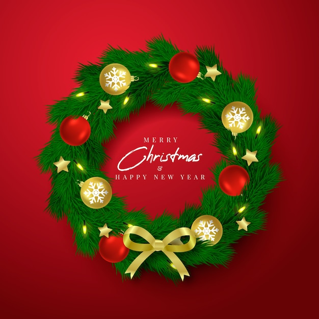 Realistic christmas decoration Free Vector
