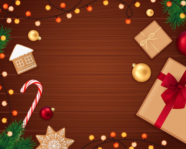 Realistic christmas decorative frame Free Vector