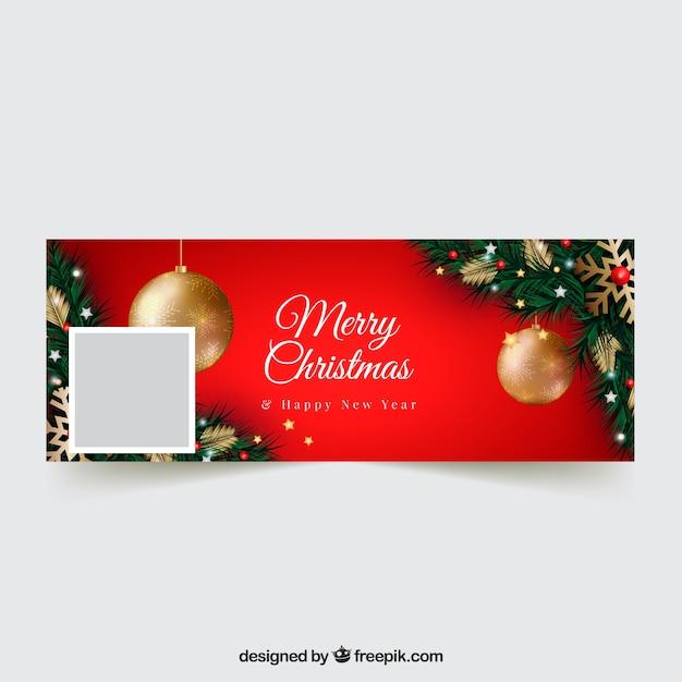 Realistic christmas design facebook cover Free Vector