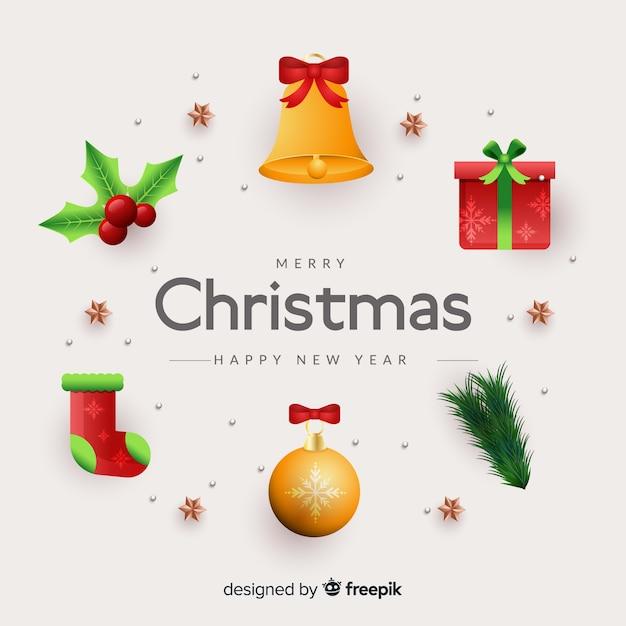 Реалистичная рождественская коллекция элементов Бесплатные векторы