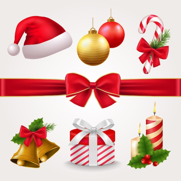 Realistic christmas element collection Free Vector