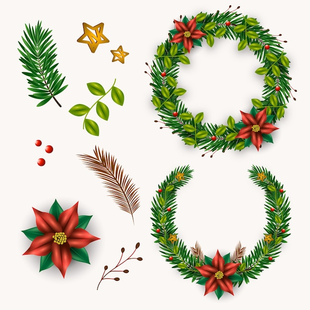 Realistic christmas flower & wreath collection Free Vector