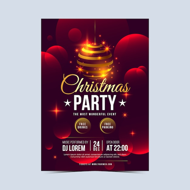Realistic christmas flyer template Free Vector