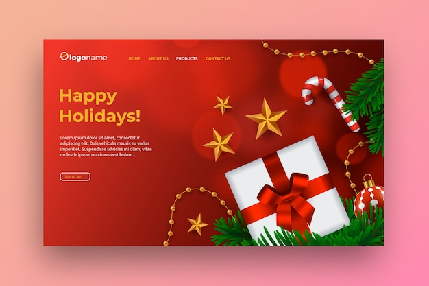 Realistic christmas landing page template Free Vector