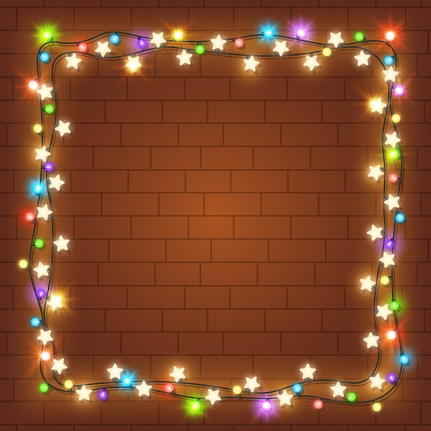 Realistic christmas light frame Free Vector