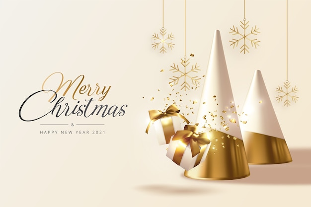 Realistic christmas and new year greeting card with golden trees, gifts and snowflakes Free Vector