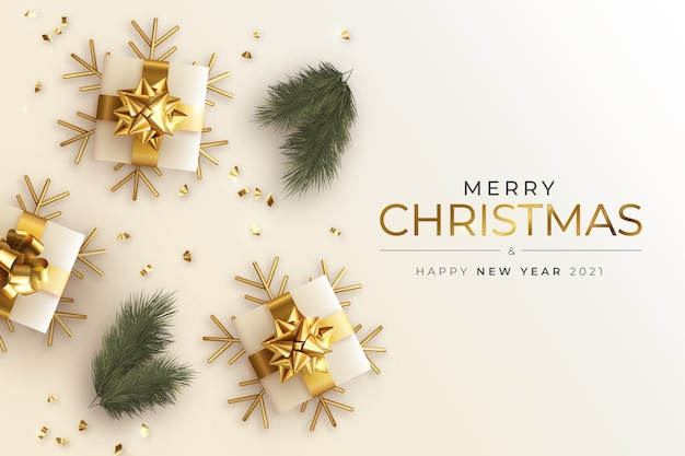 Realistic christmas and new year greeting card with presents and branches Free Vector