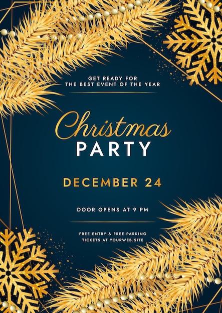 リアルなクリスマスパーティーチラシテンプレート 無料ベクター