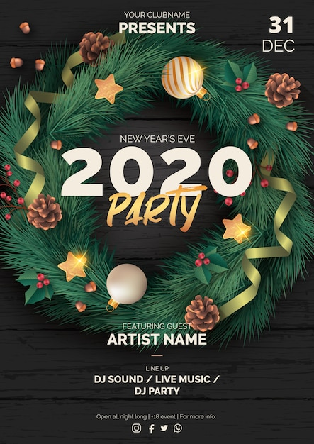 Realistic christmas party poster template with black wood Free Vector