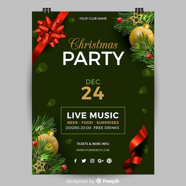Christmas Party Flyer Template.Realistic Christmas Party Poster Template Vector Free Download