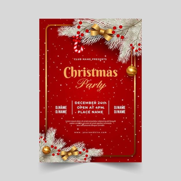 Реалистичный шаблон плаката рождественской вечеринки Premium векторы