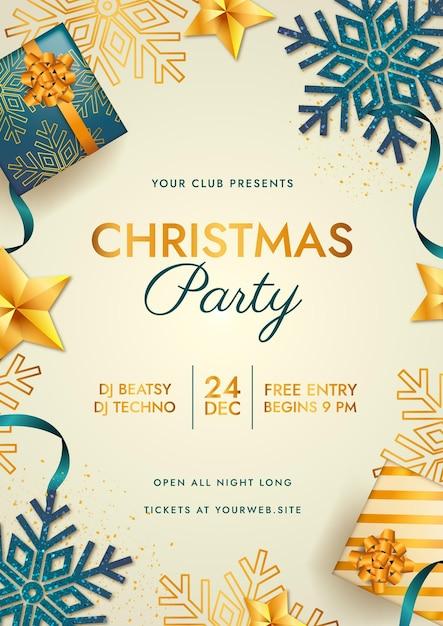 Реалистичный шаблон плаката рождественской вечеринки Бесплатные векторы