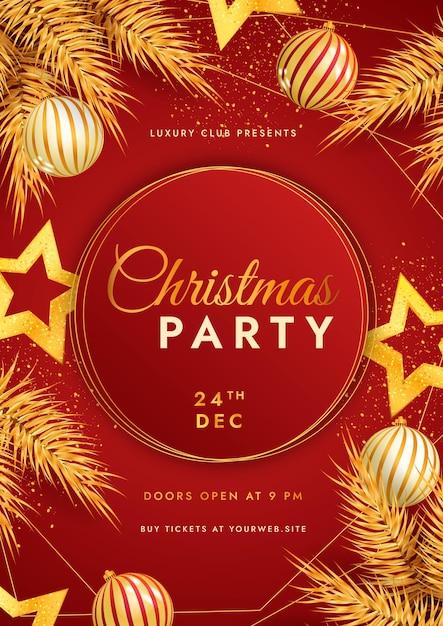 リアルなクリスマスパーティー垂直ポスターテンプレート 無料ベクター