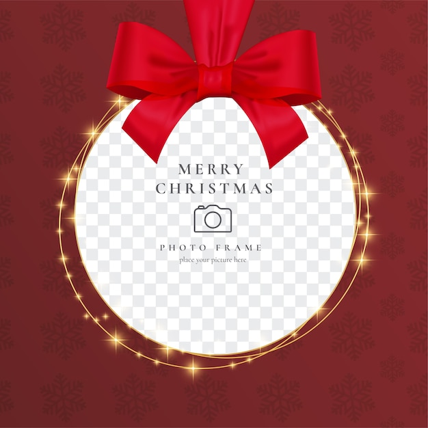 Realistic christmas photo frame with red ribbon Free Vector