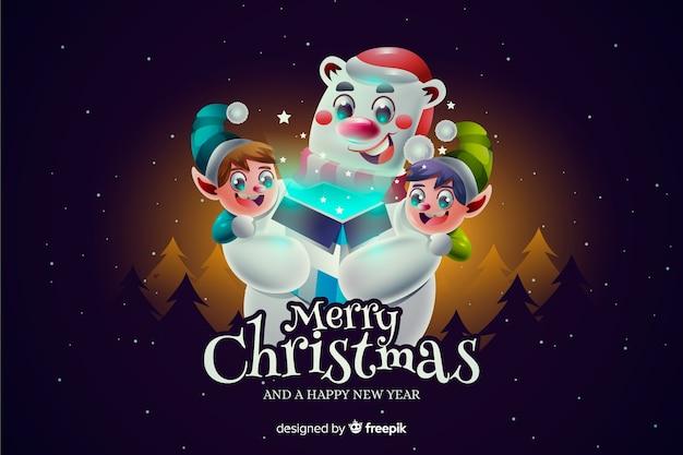 Realistic christmas polar bear background Free Vector
