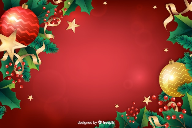 Realistic christmas red festive background Free Vector