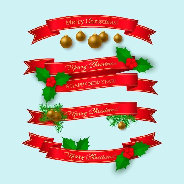 Реалистичная рождественская коллекция лент Premium векторы