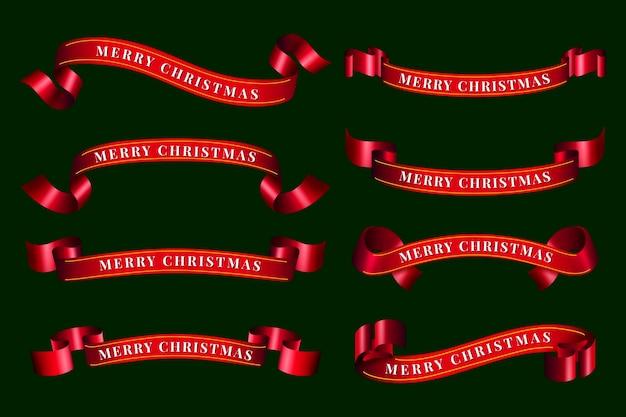 Реалистичная рождественская коллекция лент Бесплатные векторы