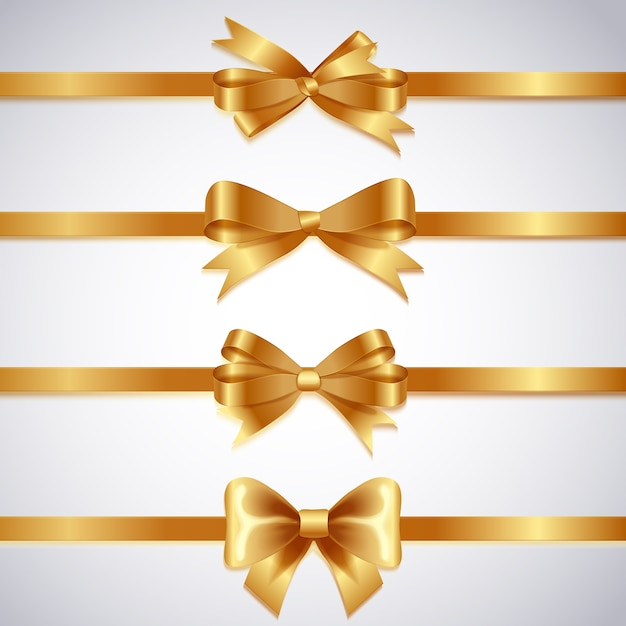 Realistic christmas ribbon collection Free Vector