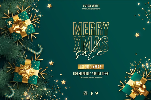 Realistic christmas sale banner template with green and golden decoration Free Vector