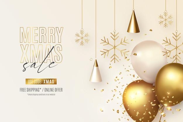Banner di vendita di natale realistico con ornamenti e palloncini Vettore gratuito