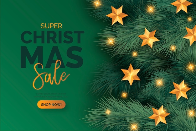 Realistic christmas sale banner with ornaments Free Vector