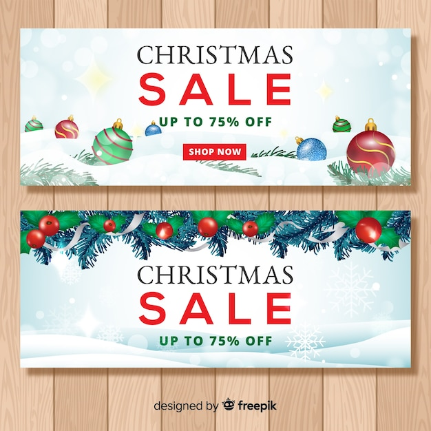 Realistic christmas sale banner Free Vector
