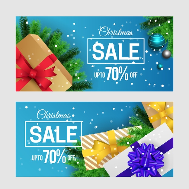 Realistic christmas sale banners collection Free Vector