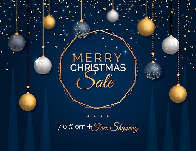 Realistic christmas sale Free Vector