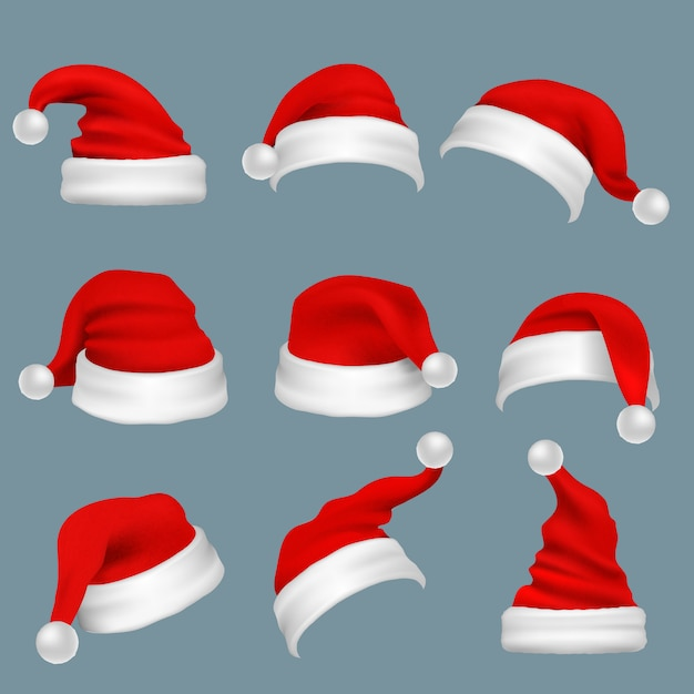 Realistic christmas santa claus red hats isolated vector set. santa claus cap to xmas holiday celebration illustration Premium Vector