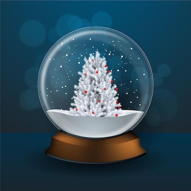 Globo realistico della palla di neve di natale Vettore gratuito